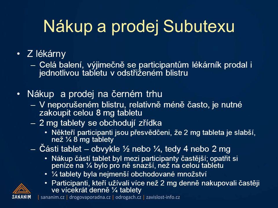 Nákup a prodej Subutexu •Z lékárny –Celá balení, výjimečně se participantům lékárník prodal i jednotlivou tabletu v odstřiženém blistru •Nákup a prodej na černém trhu –V neporušeném blistru, relativně méně často, je nutné zakoupit celou 8 mg tabletu –2 mg tablety se obchodují zřídka •Někteří participanti jsou přesvědčeni, že 2 mg tableta je slabší, než ¼ 8 mg tablety –Části tablet – obvykle ½ nebo ¼, tedy 4 nebo 2 mg •Nákup částí tablet byl mezi participanty častější; opatřit si peníze na ¼ bylo pro ně snazší, než na celou tabletu •¼ tablety byla nejmenší obchodované množství •Participanti, kteří užívali více než 2 mg denně nakupovali častěji ve vícekrát denně ¼ tablety