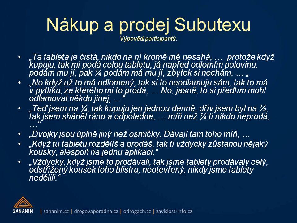 Nákup a prodej Subutexu Výpovědi participantů.