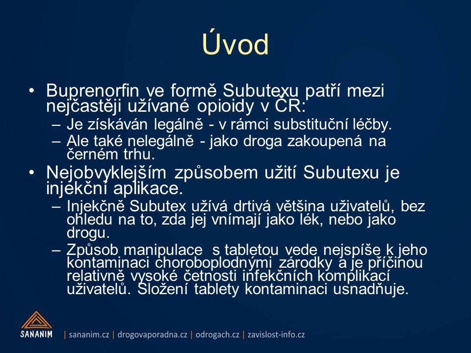Úvod •Buprenorfin ve formě Subutexu patří mezi nejčastěji užívané opioidy v ČR: –Je získáván legálně - v rámci substituční léčby.