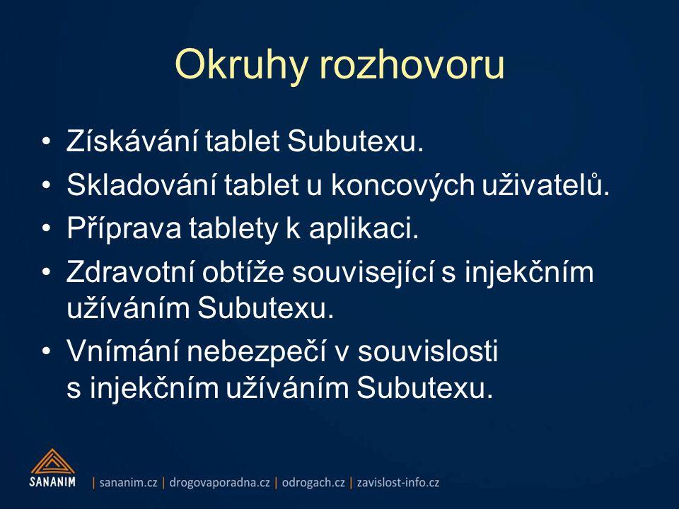 Okruhy rozhovoru •Získávání tablet Subutexu.•Skladování tablet u koncových uživatelů.