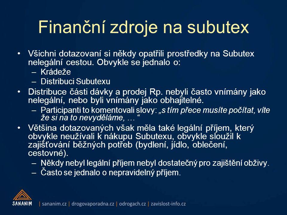 Finanční zdroje na subutex •Všichni dotazovaní si někdy opatřili prostředky na Subutex nelegální cestou.