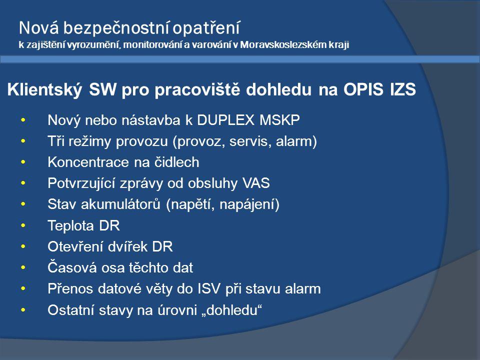 Nová bezpečnostní opatření k zajištění vyrozumění, monitorování a varování v Moravskoslezském kraji •Nový nebo nástavba k DUPLEX MSKP •Tři režimy prov