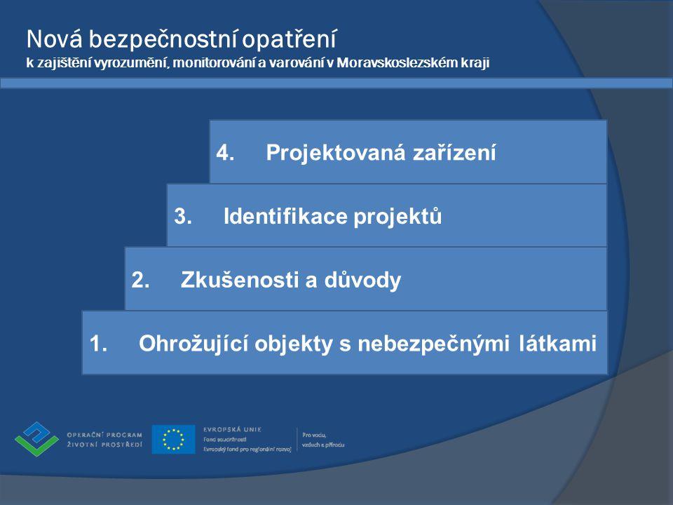 Nová bezpečnostní opatření k zajištění vyrozumění, monitorování a varování v Moravskoslezském kraji 2. Zkušenosti a důvody 1. Ohrožující objekty s neb