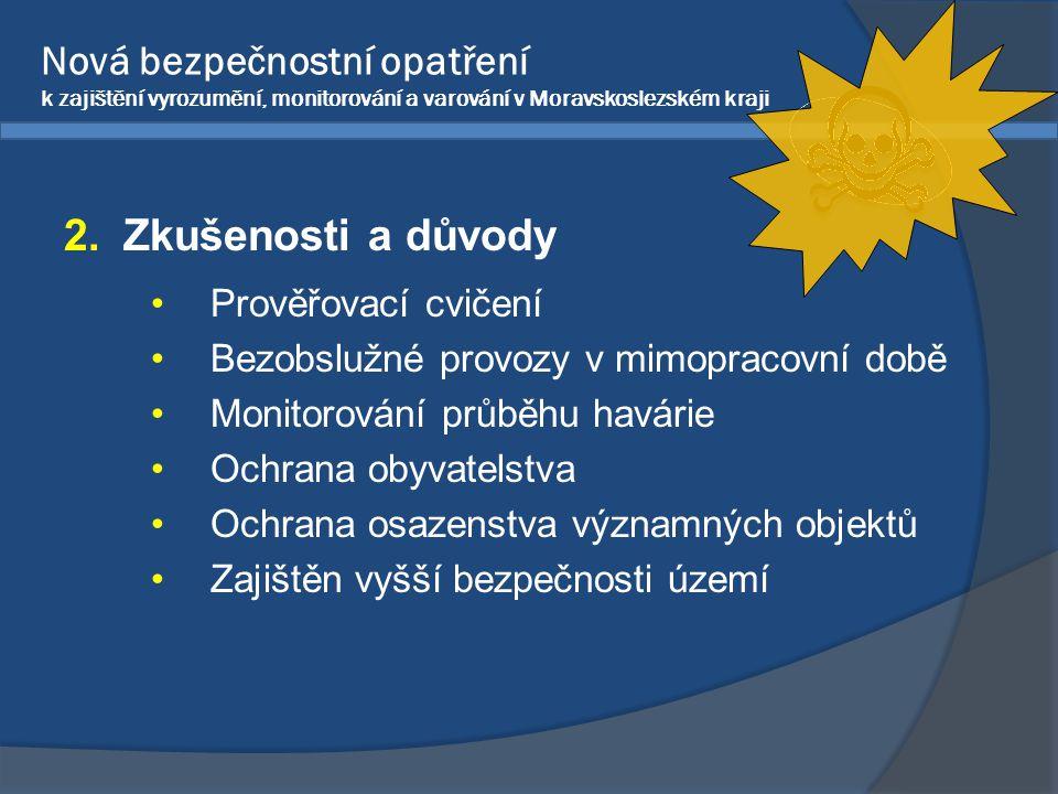 2.Zkušenosti a důvody •Prověřovací cvičení •Bezobslužné provozy v mimopracovní době •Monitorování průběhu havárie •Ochrana obyvatelstva •Ochrana osaze
