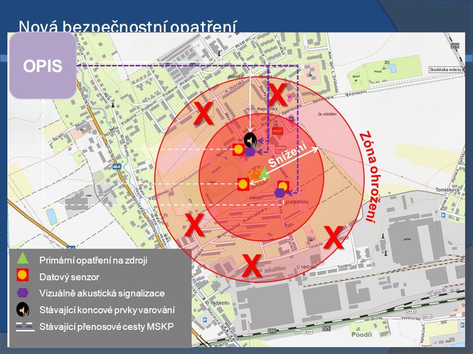 Nová bezpečnostní opatření k zajištění vyrozumění, monitorování a varování v Moravskoslezském kraji • 600 x 600 x 200 mm • IP 66 • Akumulátor 24 hod • Duplexní přijímač • MSKP II generace • (včetně vysílače) • Anténa ČidloDatový rozvaděč •Elektorchemické •170 x 130 x 130 mm •Kontinuální provoz •Průmyslové provedení •IP 66 •Do 1 kg •Amoniak 0 – 300 ppm •Chlor 0 - 10 ppm •Protivýbuchové provedení do vnitřních prostor