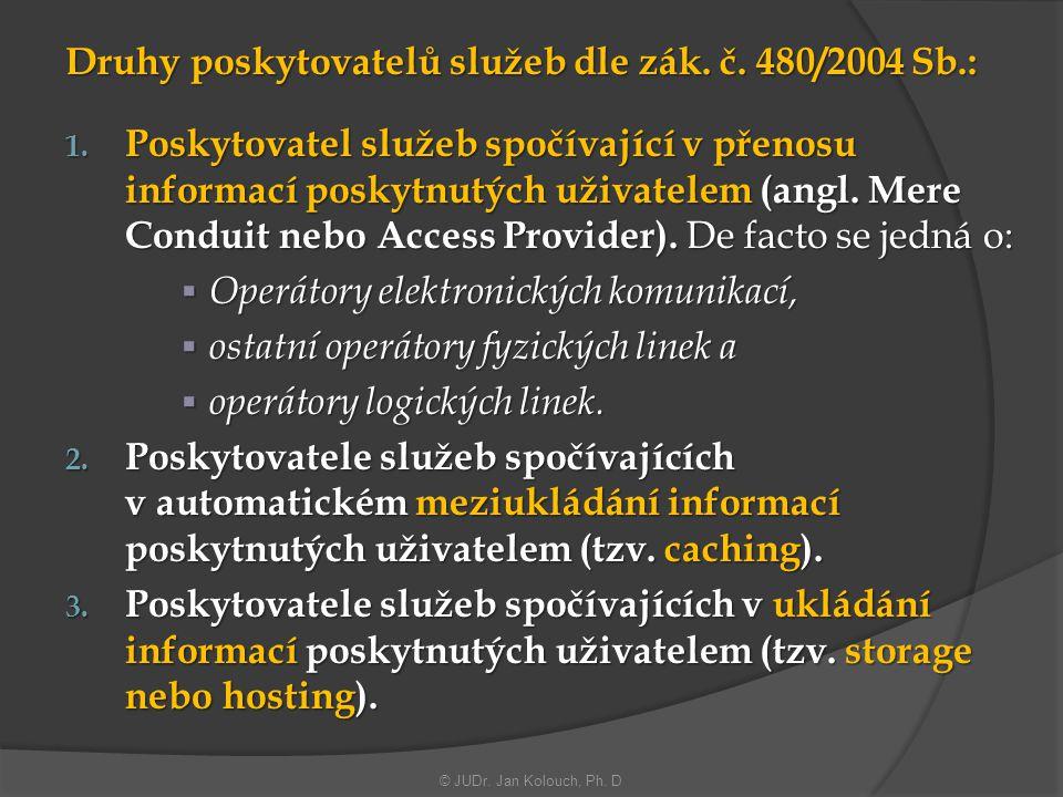 Druhy poskytovatelů služeb dle zák. č. 480/2004 Sb.: 1. Poskytovatel služeb spočívající v přenosu informací poskytnutých uživatelem (angl. Mere Condui