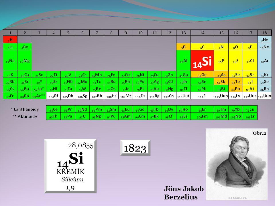 1823 28,0855 14 Si KŘEMÍK Silicium 1,9 Jöns Jakob Berzelius Obr.2