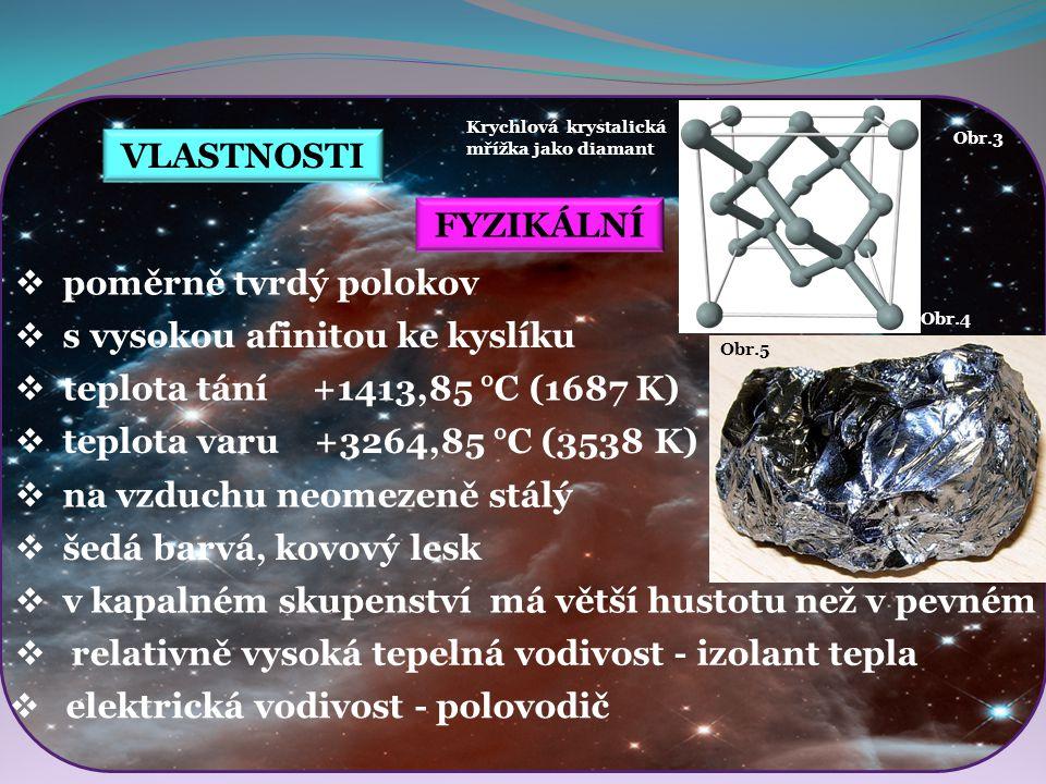 Obr.7 Obr.8 VLASTNOSTI CHEMICKÉ  křemíkový prášek je snadno hořlavý  prášek i granule jsou dráždivé  odolný vůči většině kyselin  reaguje pouze se směsí kyseliny fluorovodíkové (HF) a kyseliny dusičné (HNO 3 )  velmi snadno se však rozpouští v zásaditých roztocích  vzniká křemičitanový aniont [SiO 3 ] -2 Obr.6