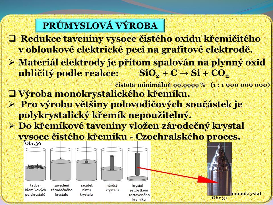 PRŮMYSLOVÁ VÝROBA Obr.31 monokrystal Obr.30  Redukce taveniny vysoce čistého oxidu křemičitého v obloukové elektrické peci na grafitové elektrodě. 