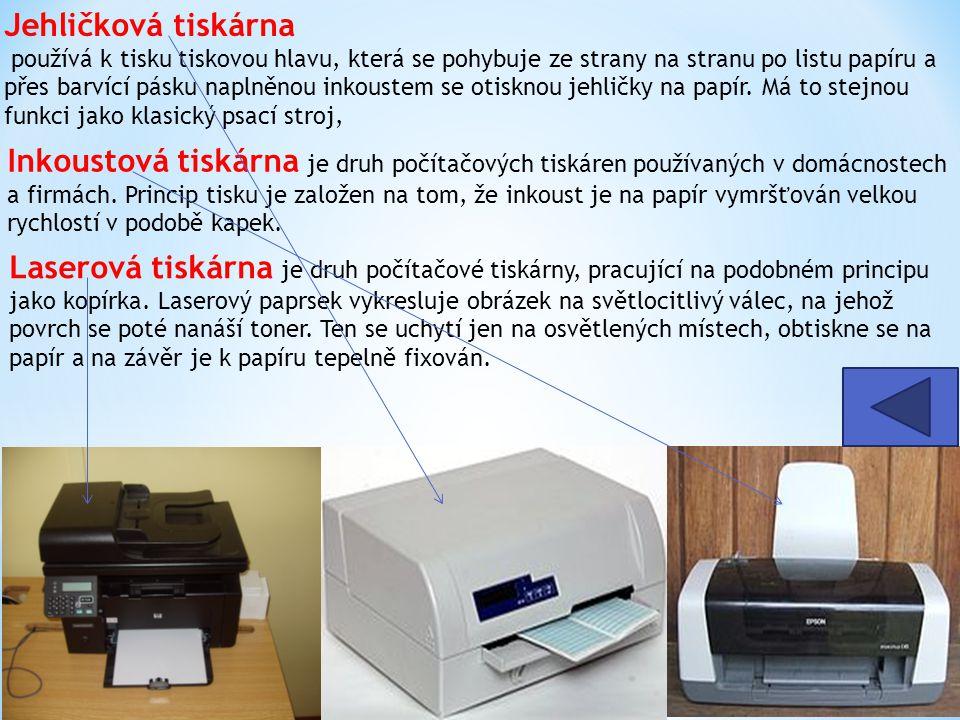 Jehličková tiskárna používá k tisku tiskovou hlavu, která se pohybuje ze strany na stranu po listu papíru a přes barvící pásku naplněnou inkoustem se