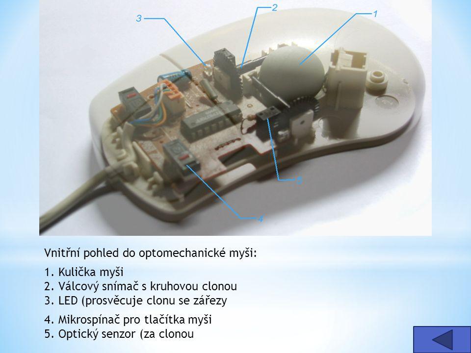 Vnitřní pohled do optomechanické myši: 1. Kulička myši 2. Válcový snímač s kruhovou clonou 3. LED (prosvěcuje clonu se zářezy 4. Mikrospínač pro tlačí