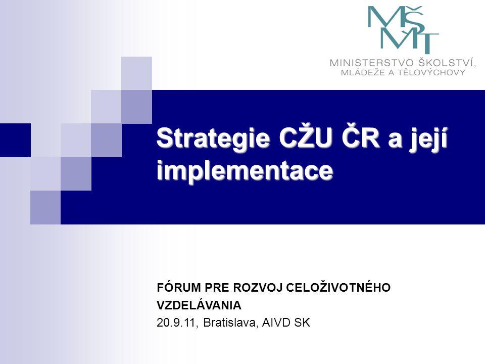 Strategie CŽU ČR a její implementace FÓRUM PRE ROZVOJ CELOŽIVOTNÉHO VZDELÁVANIA 20.9.11, Bratislava, AIVD SK