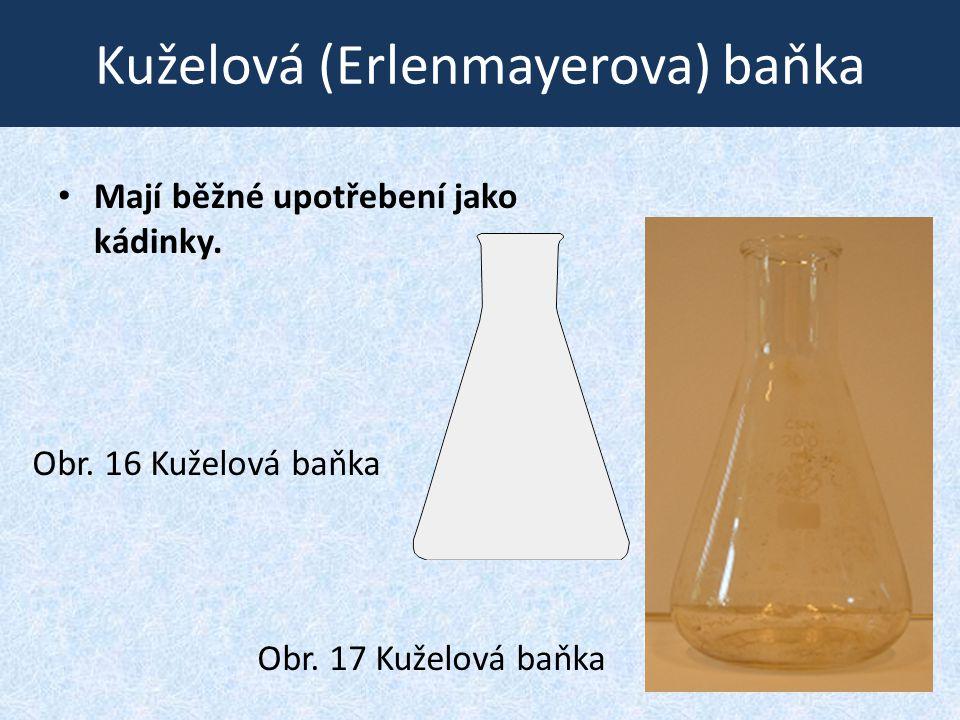 Kuželová (Erlenmayerova) baňka • Mají běžné upotřebení jako kádinky. Obr. 16 Kuželová baňka Obr. 17 Kuželová baňka