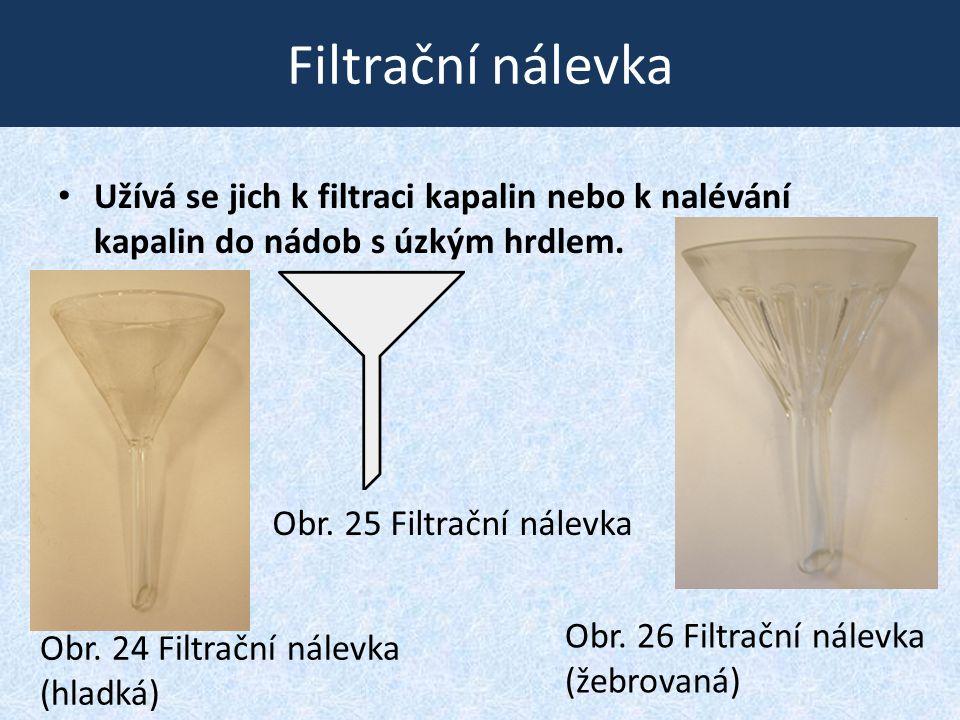 Filtrační nálevka • Užívá se jich k filtraci kapalin nebo k nalévání kapalin do nádob s úzkým hrdlem. Obr. 24 Filtrační nálevka (hladká) Obr. 25 Filtr