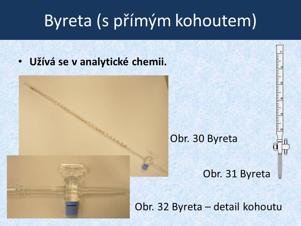Byreta (s přímým kohoutem) • Užívá se v analytické chemii. Obr. 31 Byreta Obr. 30 Byreta Obr. 32 Byreta – detail kohoutu