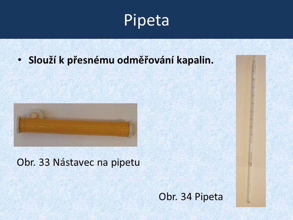 Pipeta • Slouží k přesnému odměřování kapalin. Obr. 34 Pipeta Obr. 33 Nástavec na pipetu