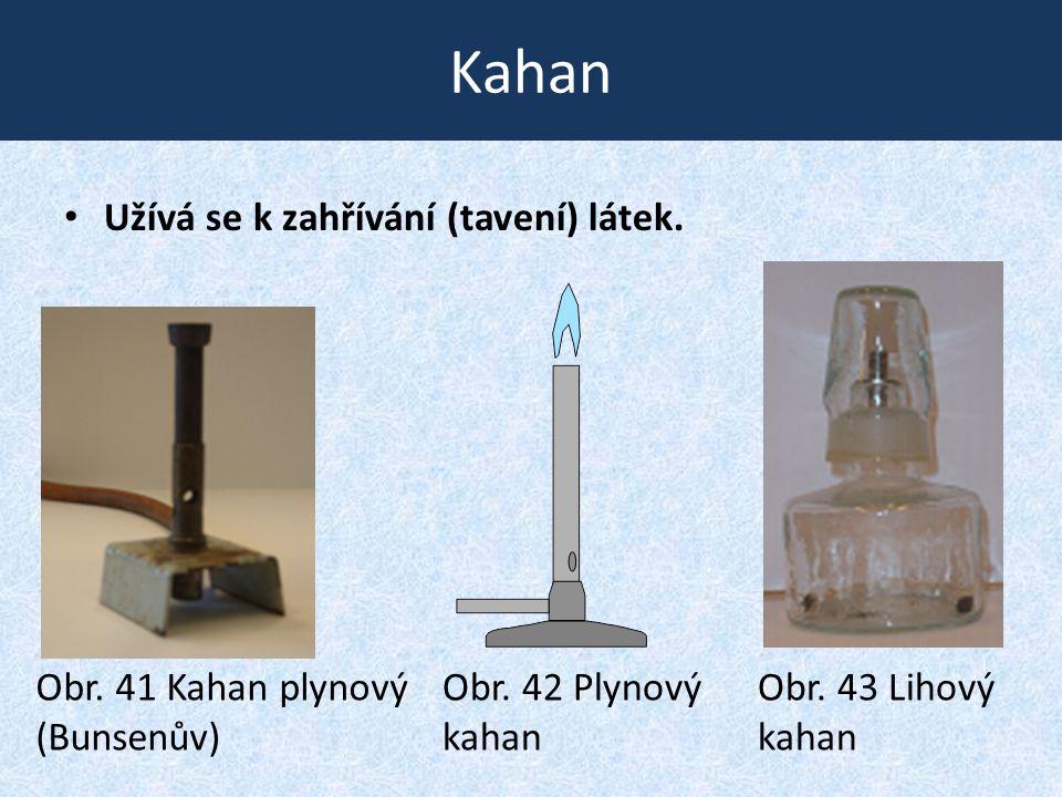 Kahan • Užívá se k zahřívání (tavení) látek. Obr. 41 Kahan plynový (Bunsenův) Obr. 42 Plynový kahan Obr. 43 Lihový kahan