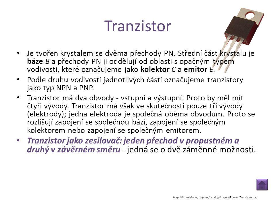 Tranzistor • Je tvořen krystalem se dvěma přechody PN. Střední část krystalu je báze B a přechody PN ji oddělují od oblasti s opačným typem vodivosti,