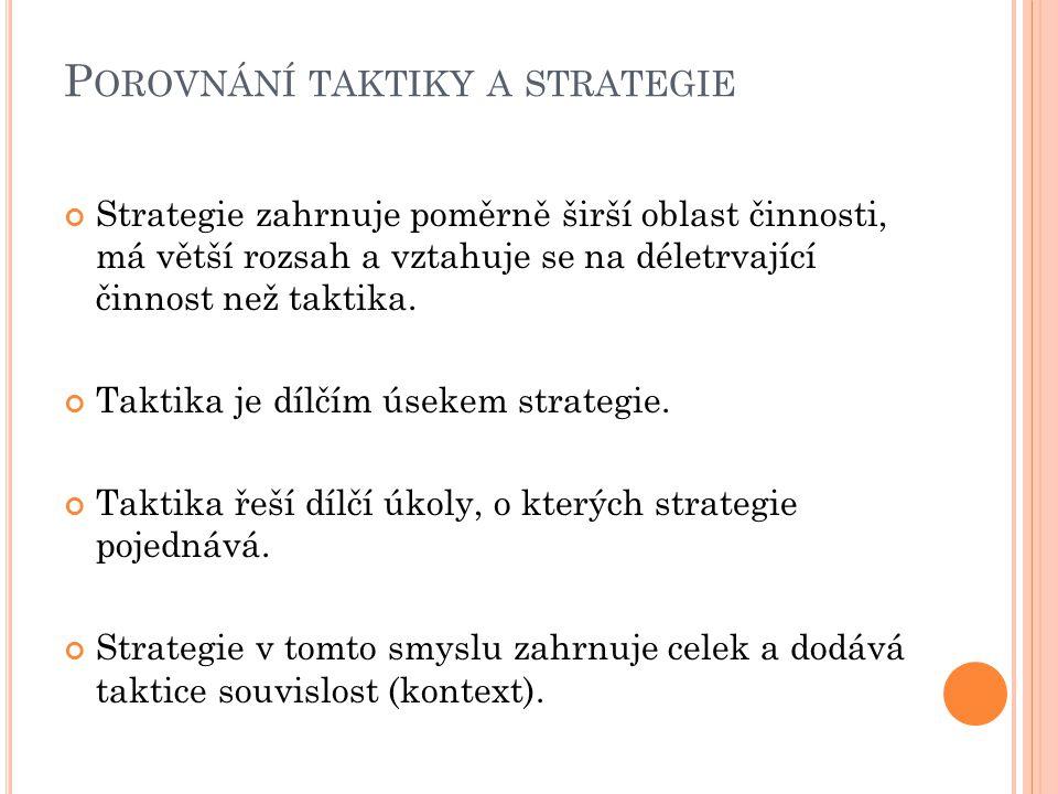 P OROVNÁNÍ TAKTIKY A STRATEGIE Strategie zahrnuje poměrně širší oblast činnosti, má větší rozsah a vztahuje se na déletrvající činnost než taktika.