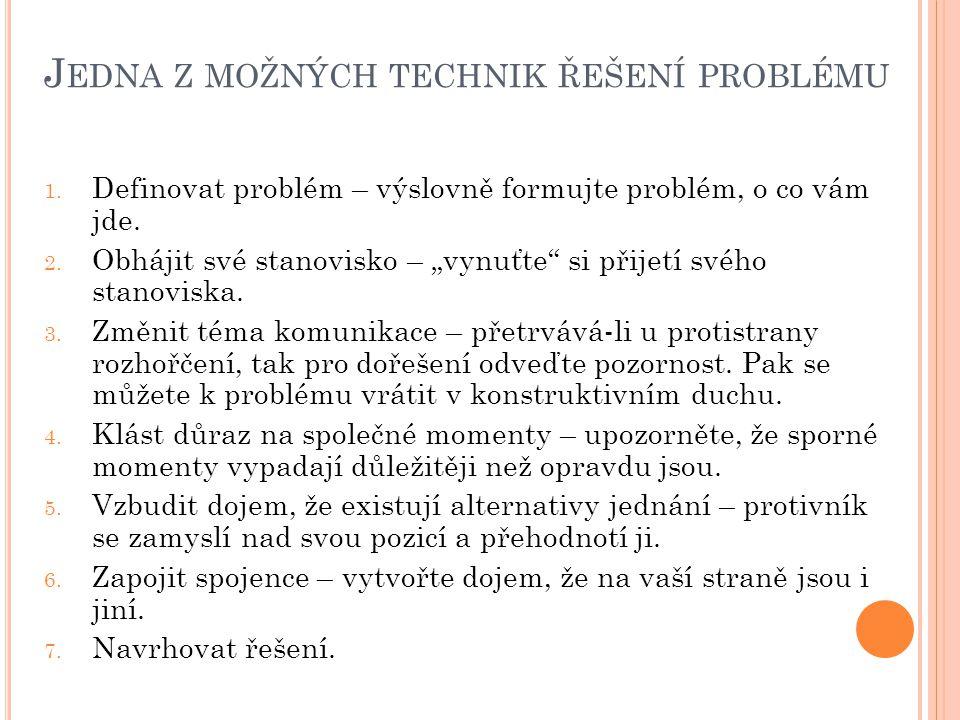 J EDNA Z MOŽNÝCH TECHNIK ŘEŠENÍ PROBLÉMU 1.