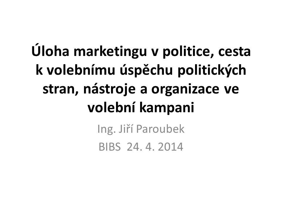 Úloha marketingu v politice, cesta k volebnímu úspěchu politických stran, nástroje a organizace ve volební kampani Ing.