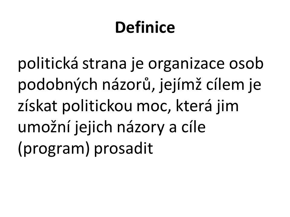 Definice politická strana je organizace osob podobných názorů, jejímž cílem je získat politickou moc, která jim umožní jejich názory a cíle (program) prosadit