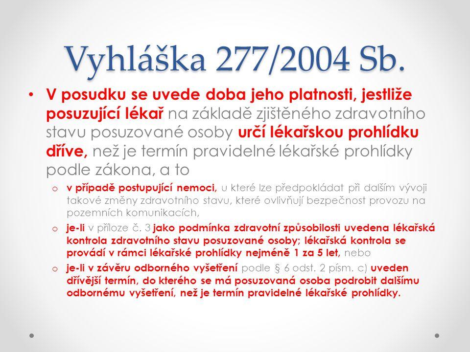 Vyhláška 277/2004 Sb. • V posudku se uvede doba jeho platnosti, jestliže posuzující lékař na základě zjištěného zdravotního stavu posuzované osoby urč