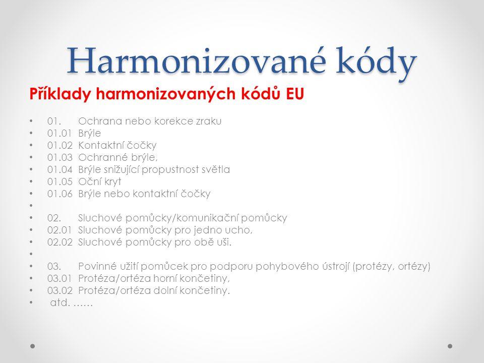 Harmonizované kódy Příklady harmonizovaných kódů EU • 01. Ochrana nebo korekce zraku • 01.01 Brýle • 01.02 Kontaktní čočky • 01.03 Ochranné brýle, • 0