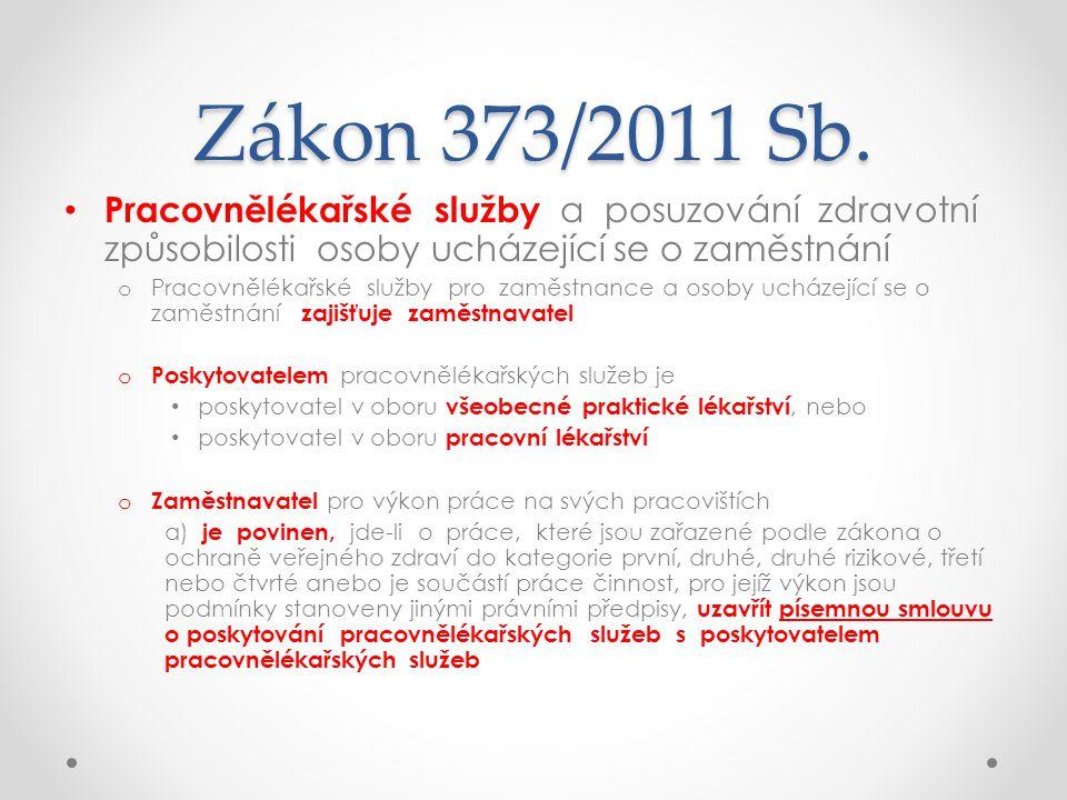 Zákon 373/2011 Sb. • Pracovnělékařské služby a posuzování zdravotní způsobilosti osoby ucházející se o zaměstnání o Pracovnělékařské služby pro zaměst