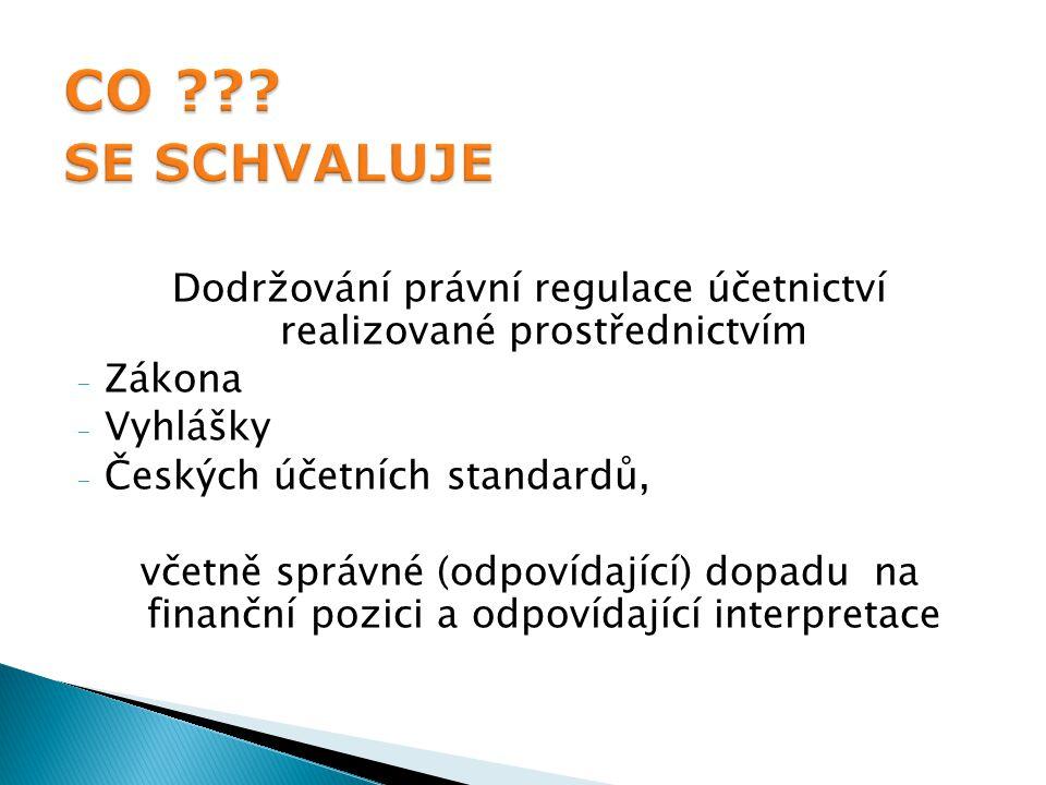 Dodržování právní regulace účetnictví realizované prostřednictvím - Zákona - Vyhlášky - Českých účetních standardů, včetně správné (odpovídající) dopadu na finanční pozici a odpovídající interpretace