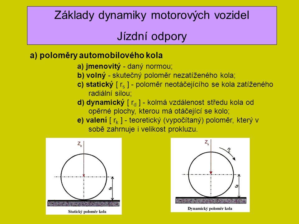Základy dynamiky motorových vozidel Jízdní odpory a) poloměry automobilového kola a) jmenovitý - daný normou; b) volný - skutečný poloměr nezatíženého