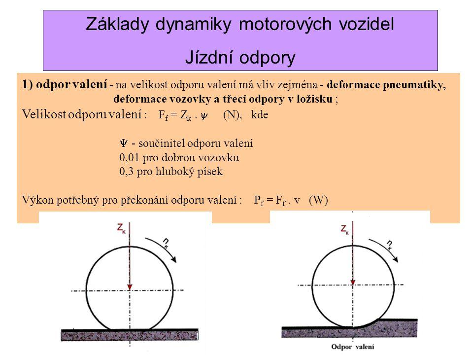 c) jízdní odpory 1.) Odpor valení 2.) Odpor vzdušný (aerodynamický) 3.) Odpor proti stoupání 4.) Odpor proti zrychlení Základy dynamiky motorových voz