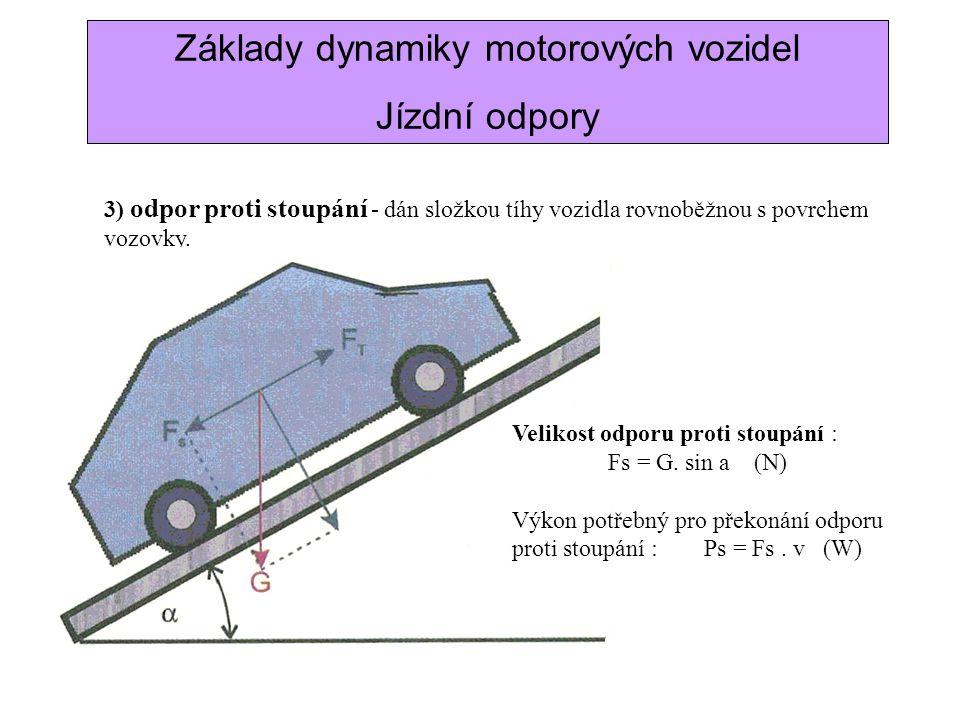 Základy dynamiky motorových vozidel Jízdní odpory 3) odpor proti stoupání - dán složkou tíhy vozidla rovnoběžnou s povrchem vozovky. Velikost odporu p