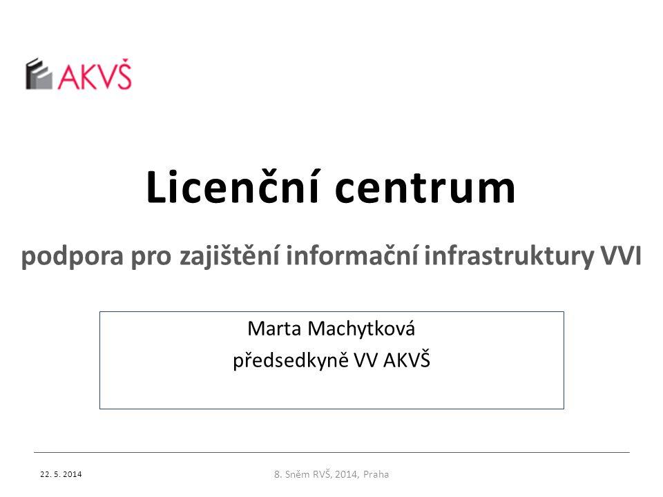 Licenční centrum podpora pro zajištění informační infrastruktury VVI 22. 5. 2014 8. Sněm RVŠ, 2014, Praha Marta Machytková předsedkyně VV AKVŠ