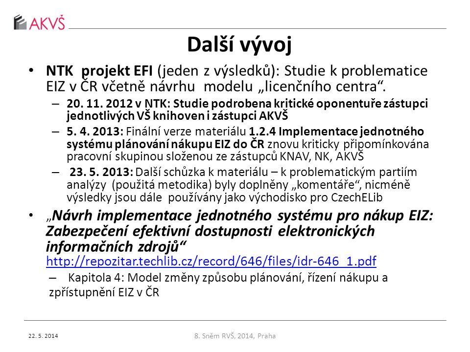 """Další vývoj • NTK projekt EFI (jeden z výsledků): Studie k problematice EIZ v ČR včetně návrhu modelu """"licenčního centra"""". – 20. 11. 2012 v NTK: Studi"""