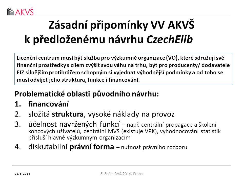 Zásadní připomínky VV AKVŠ k předloženému návrhu CzechElib Problematické oblasti původního návrhu: 1.financování 2.složitá struktura, vysoké náklady n