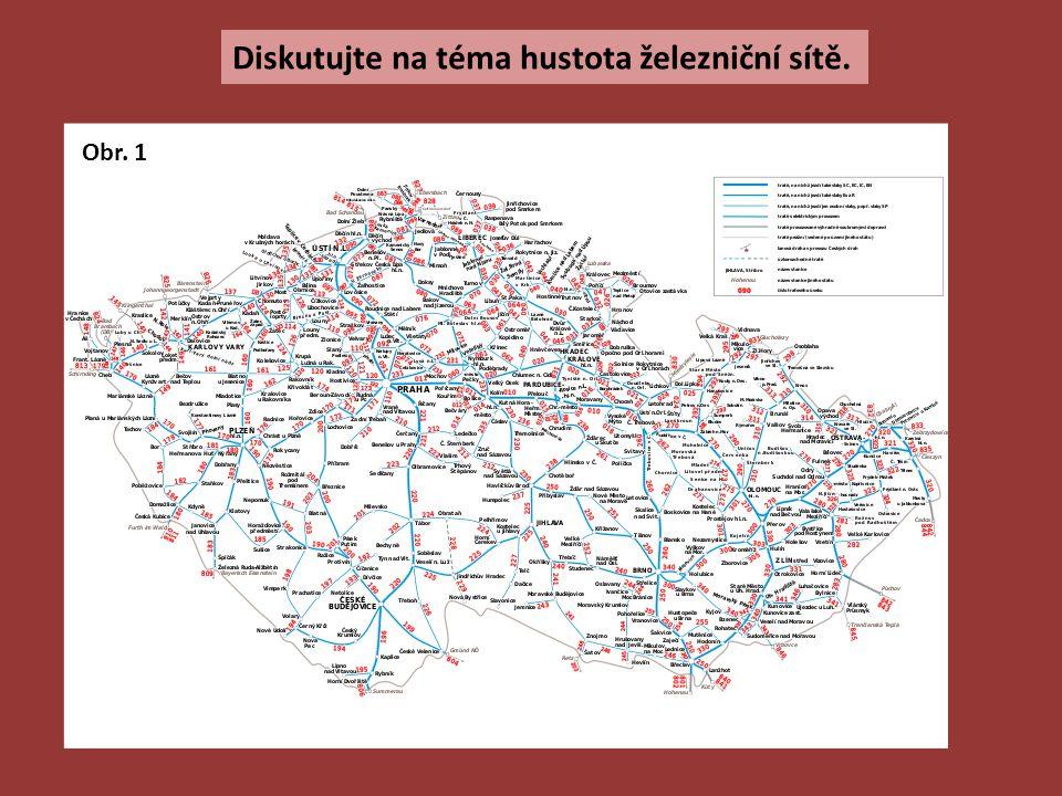 Diskutujte na téma hustota železniční sítě. Obr. 1