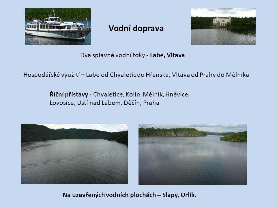 Vodní doprava Dva splavné vodní toky - Labe, Vltava Na uzavřených vodních plochách – Slapy, Orlík. Říční přístavy - Chvaletice, Kolín, Mělník, Hněvice