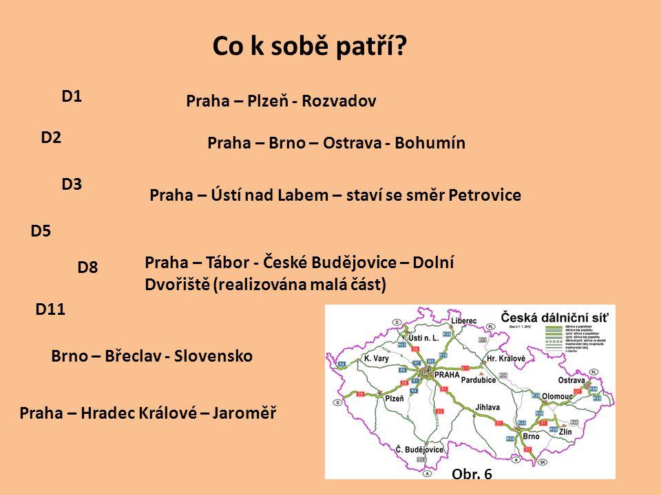 D1 D11 D8 D5 D3 D2 Praha – Brno – Ostrava - Bohumín Praha – Plzeň - Rozvadov Praha – Ústí nad Labem – staví se směr Petrovice Brno – Břeclav - Slovens