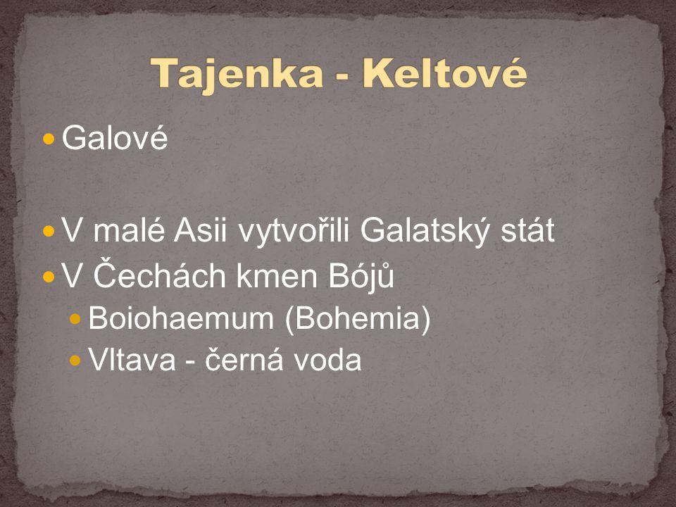  Galové  V malé Asii vytvořili Galatský stát  V Čechách kmen Bójů  Boiohaemum (Bohemia)  Vltava - černá voda