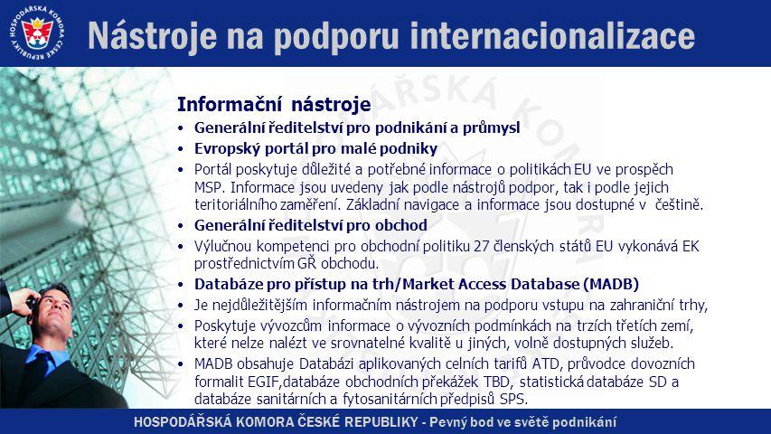 HOSPODÁŘSKÁ KOMORA ČESKÉ REPUBLIKY - Pevný bod ve světě podnikání Nástroje na podporu internacionalizace Informační nástroje •Generální ředitelství pro podnikání a průmysl •Evropský portál pro malé podniky •Portál poskytuje důležité a potřebné informace o politikách EU ve prospěch MSP.