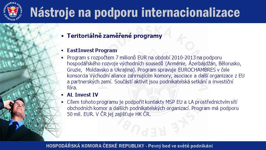 HOSPODÁŘSKÁ KOMORA ČESKÉ REPUBLIKY - Pevný bod ve světě podnikání Nástroje na podporu internacionalizace •Teritoriálně zaměřené programy •EastInvest Program •Program s rozpočtem 7 milionů EUR na období 2010-2013 na podporu hospodářského rozvoje východních sousedů (Arménie, Ázerbájdžán, Bělorusko, Gruzie, Moldavsko a Ukrajina).