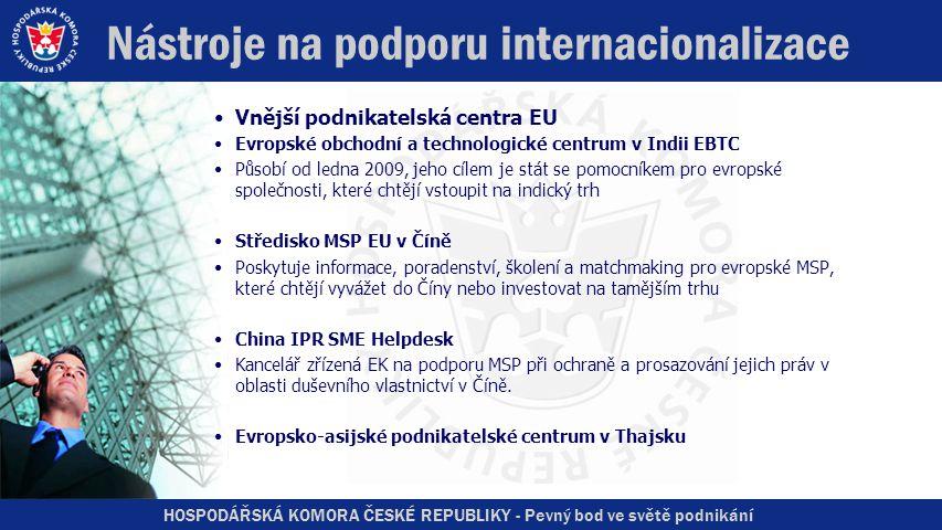 HOSPODÁŘSKÁ KOMORA ČESKÉ REPUBLIKY - Pevný bod ve světě podnikání Nástroje na podporu internacionalizace •Vnější podnikatelská centra EU •Evropské obchodní a technologické centrum v Indii EBTC •Působí od ledna 2009, jeho cílem je stát se pomocníkem pro evropské společnosti, které chtějí vstoupit na indický trh •Středisko MSP EU v Číně •Poskytuje informace, poradenství, školení a matchmaking pro evropské MSP, které chtějí vyvážet do Číny nebo investovat na tamějším trhu •China IPR SME Helpdesk •Kancelář zřízená EK na podporu MSP při ochraně a prosazování jejich práv v oblasti duševního vlastnictví v Číně.