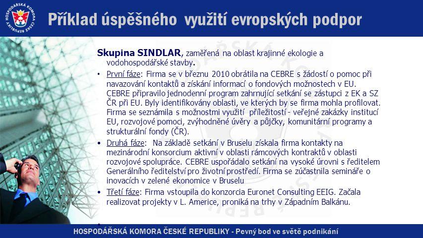 HOSPODÁŘSKÁ KOMORA ČESKÉ REPUBLIKY - Pevný bod ve světě podnikání Příklad úspěšného využití evropských podpor Skupina SINDLAR, zaměřená na oblast krajinné ekologie a vodohospodářské stavby.