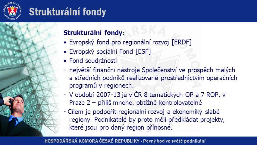 HOSPODÁŘSKÁ KOMORA ČESKÉ REPUBLIKY - Pevný bod ve světě podnikání Strukturální fondy Strukturální fondy: •Evropský fond pro regionální rozvoj [ERDF] •Evropský sociální Fond [ESF] •Fond soudržnosti -největší finanční nástroje Společenství ve prospěch malých a středních podniků realizované prostřednictvím operačních programů v regionech.