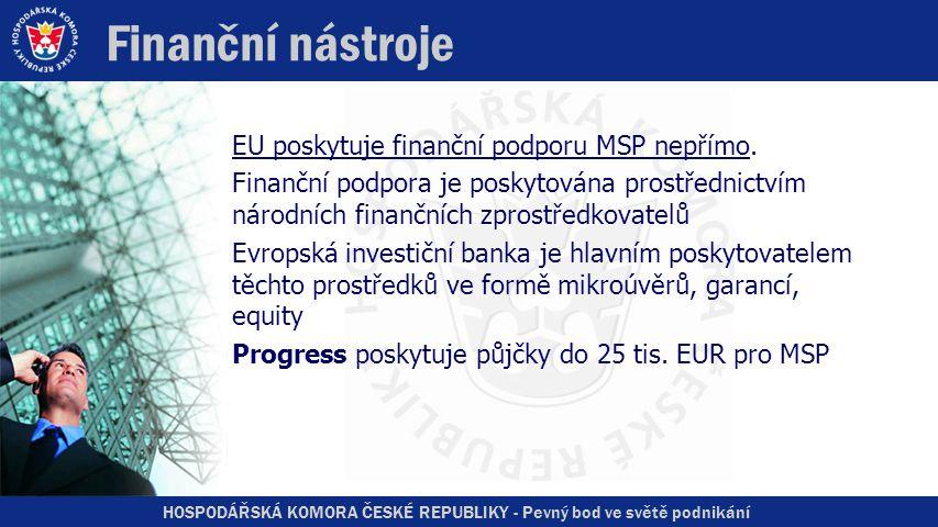 HOSPODÁŘSKÁ KOMORA ČESKÉ REPUBLIKY - Pevný bod ve světě podnikání Finanční nástroje EU poskytuje finanční podporu MSP nepřímo.