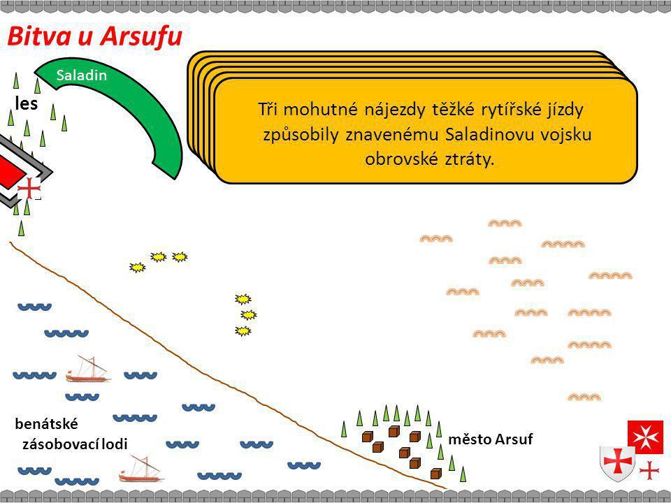 Bitva u Arsufu město Arsuf benátské zásobovací lodi Doposud lesem chráněné Richardovo vojsko vychází na asi 10km dlouhou planinu.