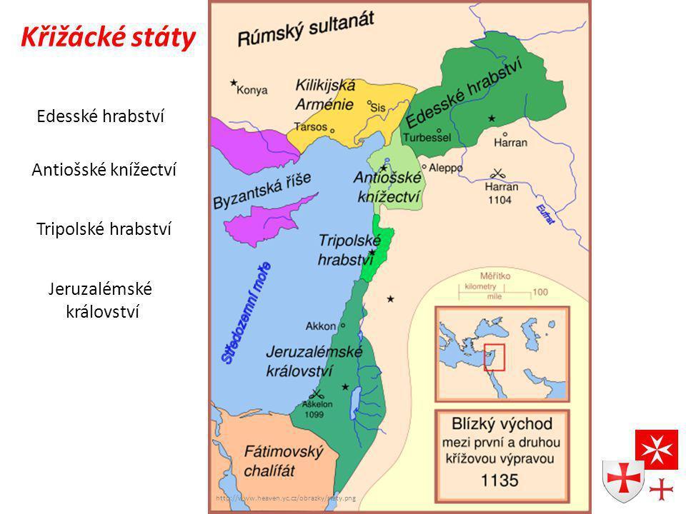 http://www.heaven.yc.cz/obrazky/staty.png Křižácké státy Edesské hrabství Antiošské knížectví Tripolské hrabství Jeruzalémské království