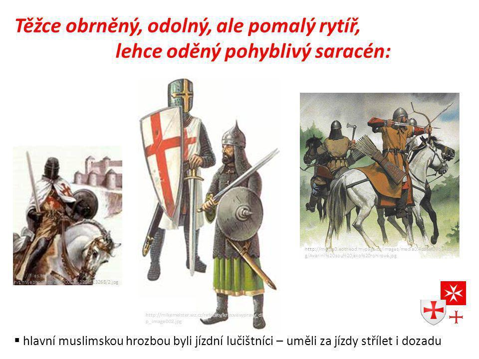 Těžce obrněný, odolný, ale pomalý rytíř, lehce oděný pohyblivý saracén: http://mikemeister.wz.cz/referaty/krizovevypravy_cli p_image002.jpg http://files.templarsky- rytir.webnode.cz/200000013-222c323268/2.jpg http://media0.eotheod.mypage.cz/images/media0:4cd6ef09b14bb.jp g/Avarini%20sou%20jako%20rohirové.jpg  hlavní muslimskou hrozbou byli jízdní lučištníci – uměli za jízdy střílet i dozadu