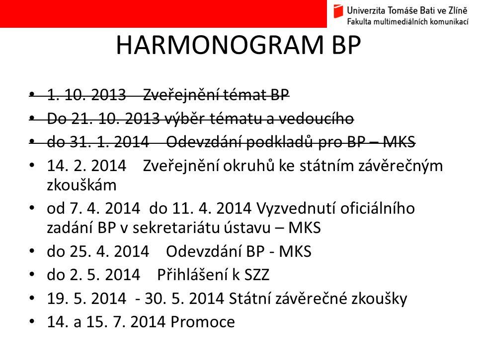 HARMONOGRAM BP • 1. 10. 2013 Zveřejnění témat BP • Do 21. 10. 2013 výběr tématu a vedoucího • do 31. 1. 2014 Odevzdání podkladů pro BP – MKS • 14. 2.
